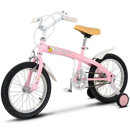 13a3db2b619 Goplus 16'' Kids Bicycle Bike Outdoor Sports With Training Wheels Bell Boys  Girls Pink - Walmart.com