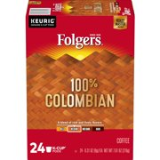 Folgers 100% Colombian K-Cup Coffee Pods, Medium Roast, 24 Count For Keurig and K-Cup Compatible Brewers