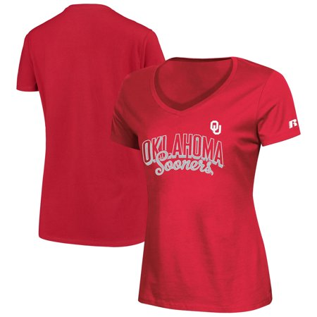 Women's Russell Crimson Oklahoma Sooners Arch V-Neck T-Shirt (Oklahoma Sooners House)