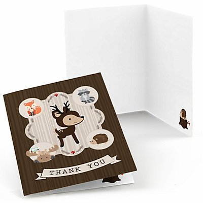Woodland Creatures - Baby Shower or Birthday Party Thank You Cards - Set of 24