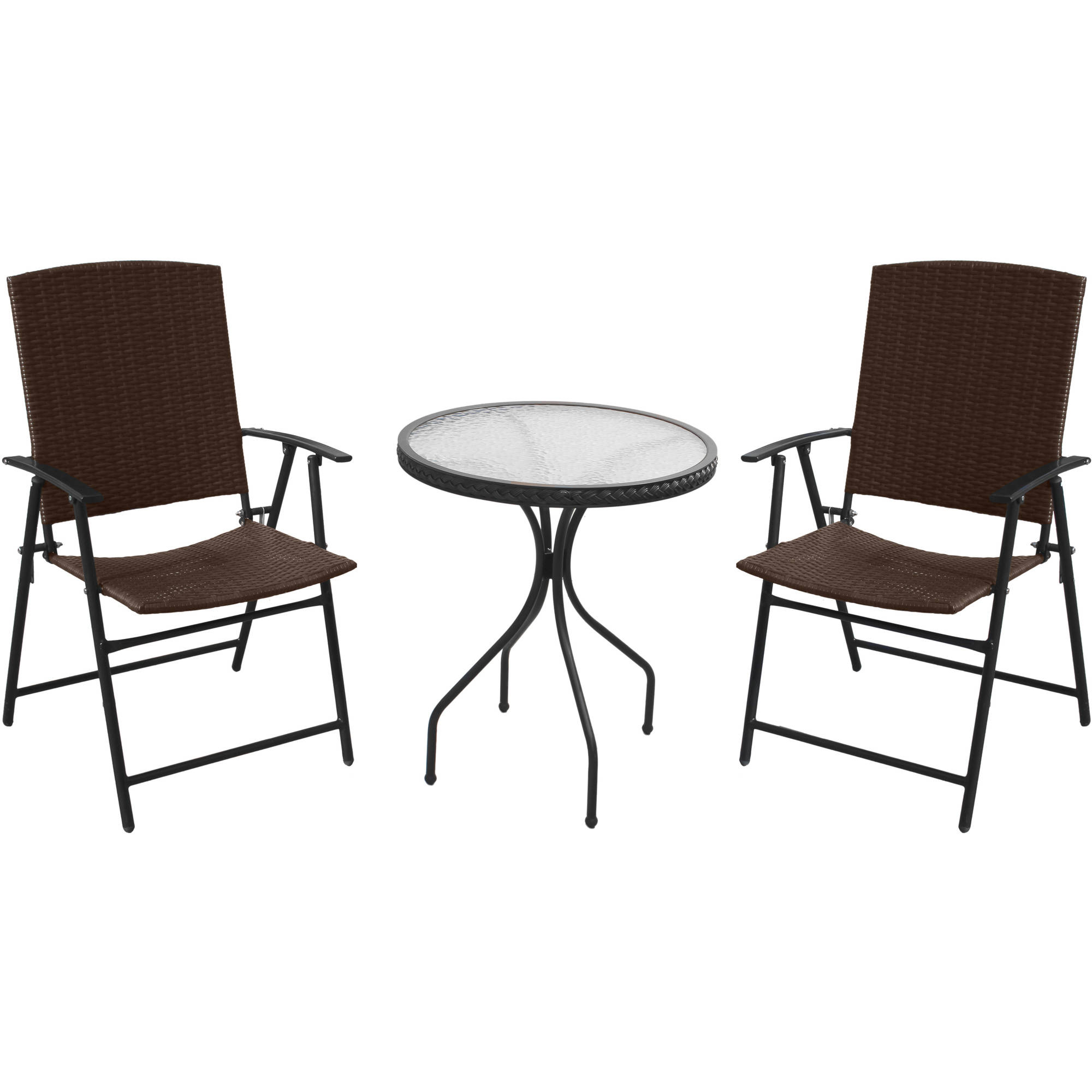 Hiland Bar Three-Piece Patio Set, Mocha Wicker