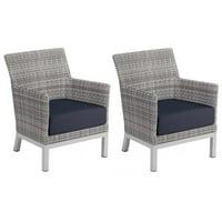 Argento 2 Piece Wicker Patio Club Chair Set W/ Midnight Blue Cushions By Oxford Garden