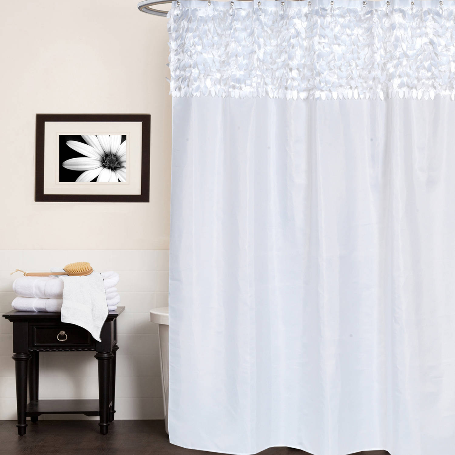 Jasmine Polyester Fabric Shower Curtain Leaf Banded 70 X 72
