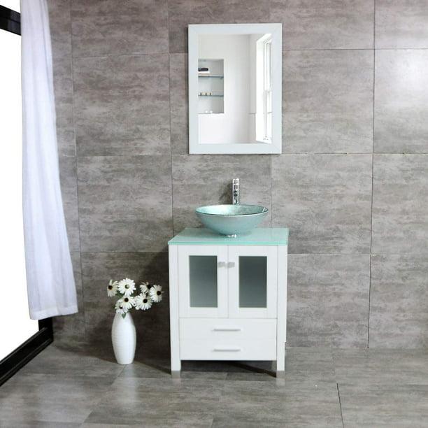 Wonline 24 Bathroom Vanity Cabinet Tempered Glass Vessel Sink Bowl Faucet Drain Walmart Com Walmart Com