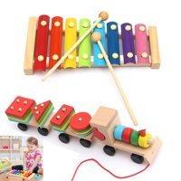 Kids Baby Natural Wooden Hand Knock Piano Stacking Train Puzzles Educational Xylophone Musical Instrument Glockenspiel Toy Inspire Children's Talent Children Kids Baby
