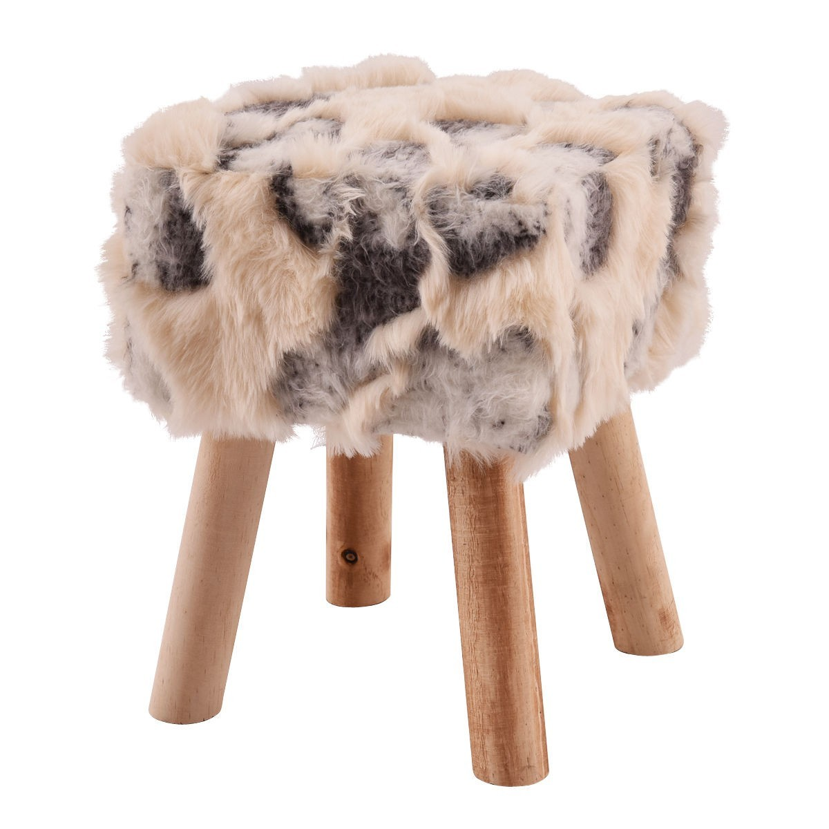 Faux Fur Square Footstool with 4 Wooden Solid Legs by