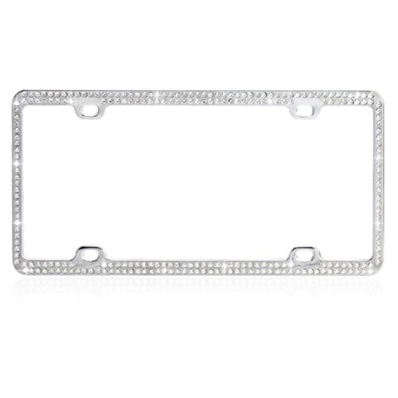 Insten Car Automotive License Plate Frame Chrome Coating Metal with Crystals Rhinestones (Car License Plate Frame)