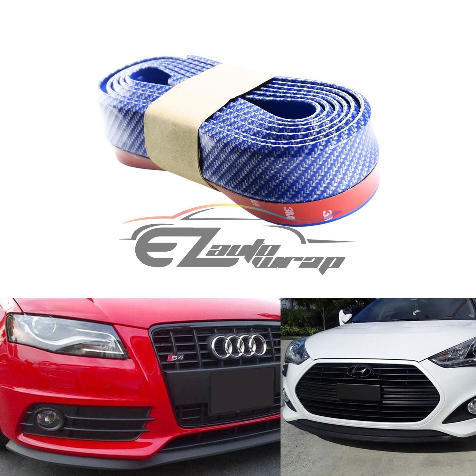 EZAUTOWRAP Universal Carbon Fiber Red 8ft PU Rubber Front Bumper EZ Lip Splitter Spoiler Chin Body Kit Facia Chin