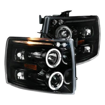 07 Chevrolet Silverado 1500 Light - Spec-D Tuning Jet Black 2007-2014 Chevy Silverado 1500 2500 3500 Led + Halo Projector Headlights (Left + Right) 07 08 09 10 11 12 13 14