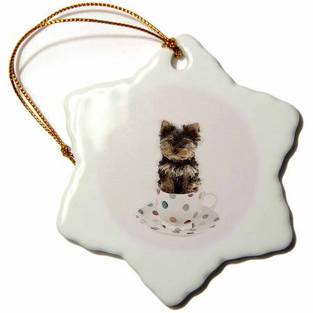 Snowflake Tea - 3dRose Tea cup yorkie in tea cup - Snowflake Ornament, 3-inch