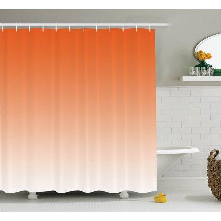 Ombre Shower Curtain, Scorching Sunset in the Hot Desert Inspired Dusk Orange Ombre Digital Art Design Print, Fabric Bathroom Set with Hooks, Orange, by Ambesonne