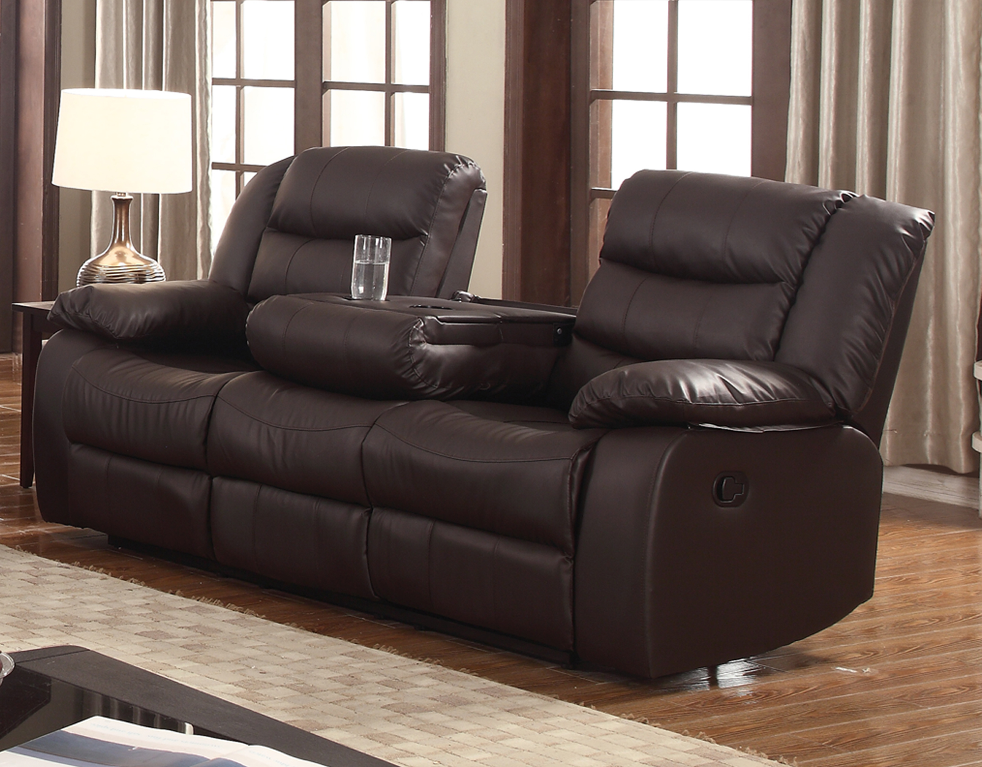 Layla Dark Brown Faux Leather Reclining Sofa With Drop Down Tea