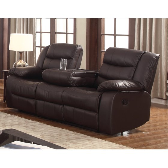 Layla dark brown faux leather reclining sofa with drop for Sectional sofa with drop down table