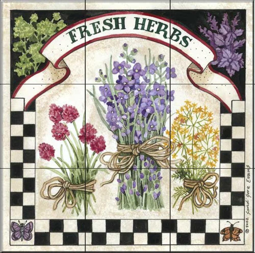 by Sandi Gore Evans Fresh Herbs Ceramic Tile Mural Kitchen backsplash//Bathroom Shower