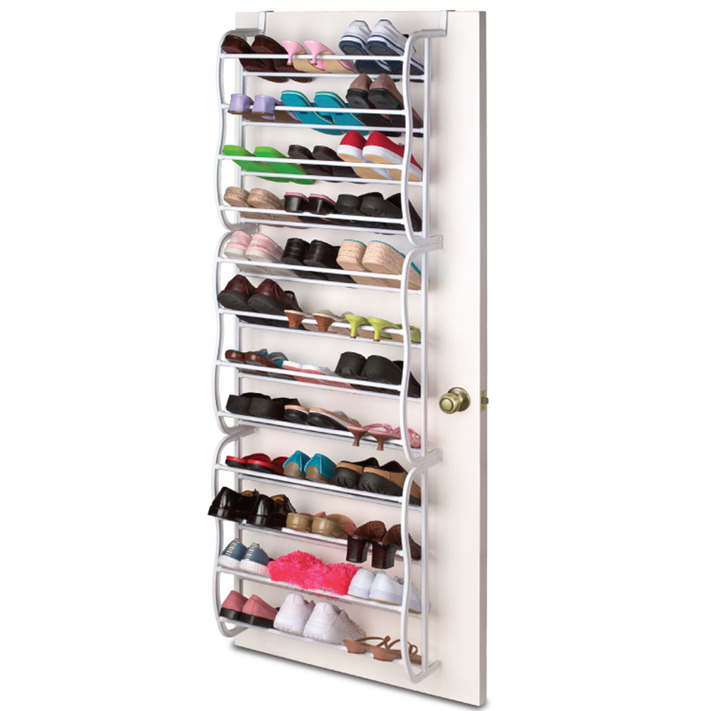 Sunbeam Over The Door 36 Pair 12 Tier White Hanging Boot Shoe Organizer Rack