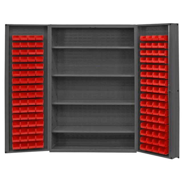 14 Gauge Deep Door Style Lockable Cabinet with 128 Red Hook on Bins & 4 Adjustable Shelves, Gray -48 in.