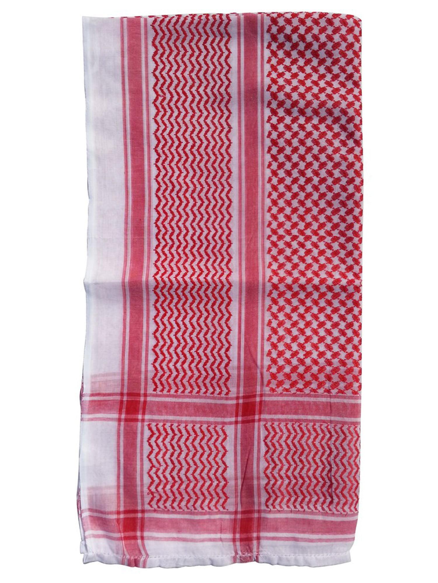 MuslimClothing® Red White Keffiyeh Islamic Muslim Arafat Scarf Shawl 120x120cm