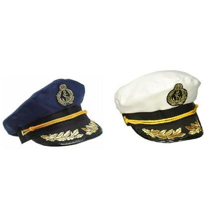 f5bfacc1be8 Nicky Bigs Novelties - Yacht Captain Hat Sea Skipper White Navy Blue Sailor  Cap Costume Boater Hats Set - Walmart.com