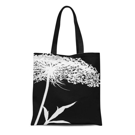 ASHLEIGH Canvas Tote Bag Inverted Wrapped White on Black Queen Anne Negative Flower Reusable Handbag Shoulder Grocery Shopping Bags