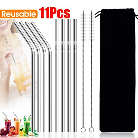 Set of 11 Stainless Steel Straws Ultra Long 9