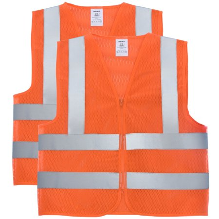 2be8f0548db 53946A High Visibility Neon Orange Safety Vest with Reflective Strips and  Mesh Fabric