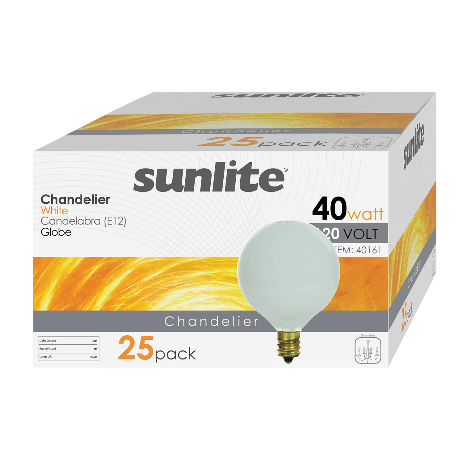 Sunlite Incandescent 40 Watt G16.5 Globe 298 Lumens White Light Bulb 12 Pack