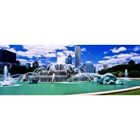 Buckingham Fountain in Grant Park Chicago Cook County Illinois USA Canvas Art - Panoramic Images (18 x (Chicago Buckingham Fountain)