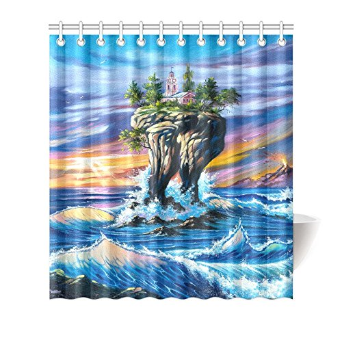 GCKG SunSea Ocean Waves Shower Curtain Hooks 66x72 Inches
