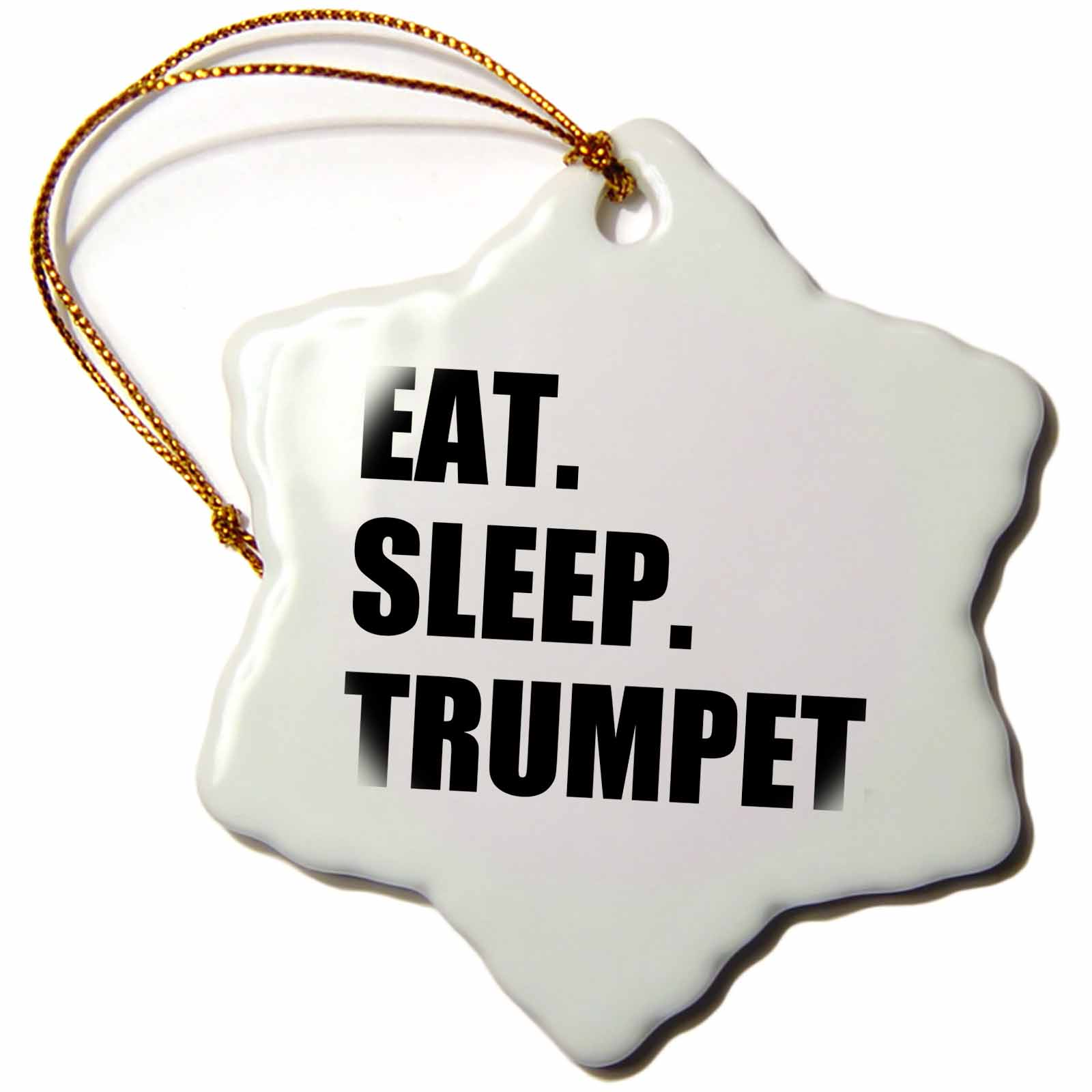 3dRose Eat Sleep Trumpet - black text - music musician fun orchestra practice, Snowflake Ornament, Porcelain, 3-inch