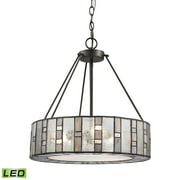 Ethan 3-Light Chandelier in Tiffany Bronze with Rippled/Art/Mercury Glass