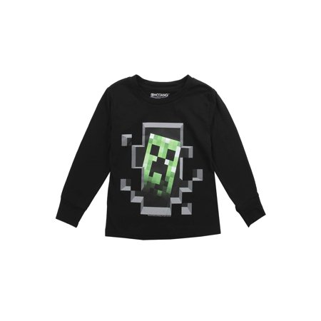 Boys Minecraft Creepers Graphic Long Sleeves, black (XS) W10