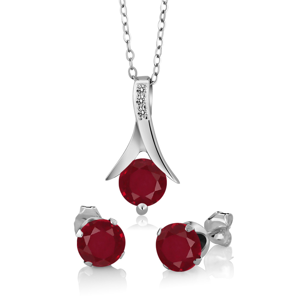 3.05 Ct Round Red Ruby White Diamond 925 Sterling Silver Pendant Earrings Set by