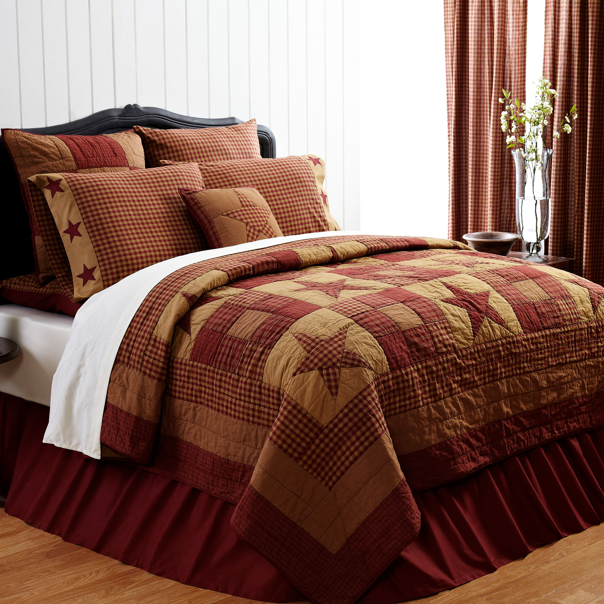 Ninepatch Star 3 Piece Burgundy Tan Country Quilt Set