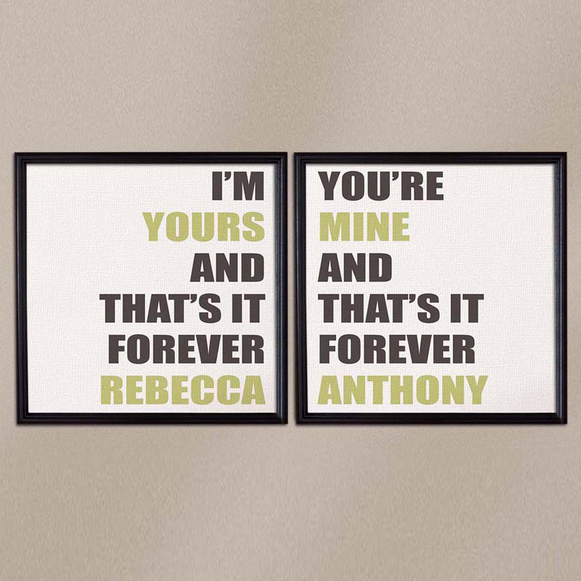 "Personalized I'm Yours, You're Mine 16"" x 16"" Canvas Set, Framed"