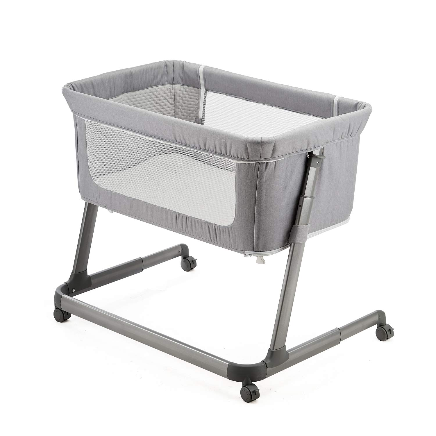 Easy Folding Portable Crib Khaki Pamobabe Bedside Sleeper,Baby Bed to Bed,Babies Crib Bed