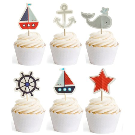 Nautical Cupcake Toppers Whale Cake Decorations For Baby Shower Wedding Birthday Party 24 Counts By - Nautical Birthday Cakes