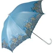 Star Power Fancy Trim Costume Parasol Umbrella, Light Blue, One Size
