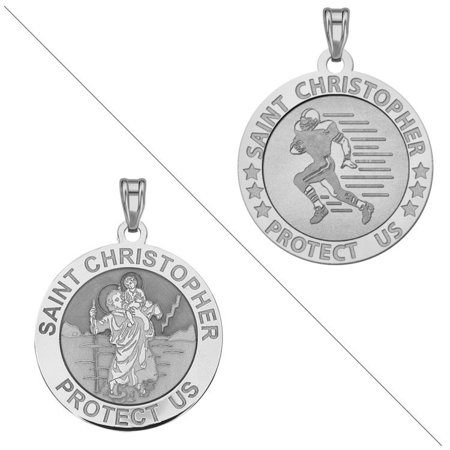 Football - Saint Christopher Doubledside Sports Religious Medal 3/4 Inch Sterling Silver