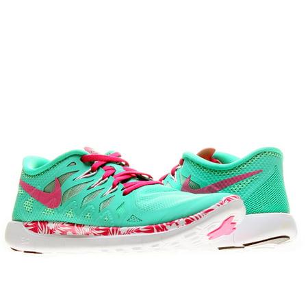 Nike Free 5.0 Print (GS) Menta/Hot Pink-Green Glow-Black Girls' Shoes 716537-300