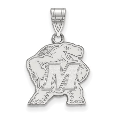 Solid 10k White Gold Maryland Medium Pendant - Halloween 10k Maryland