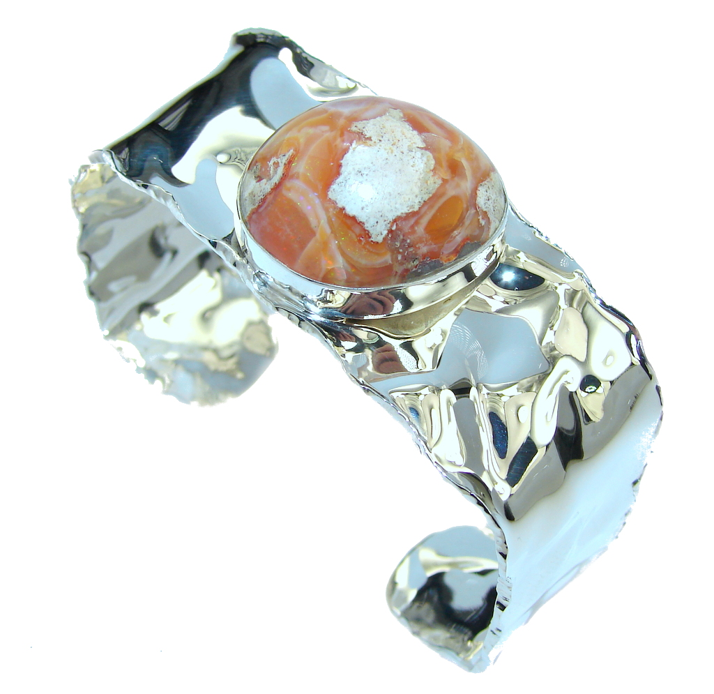 Outstanding Quality AAA Mexican Fire Opal Sterling Silver Bracelet   Cuff by SilverRush Style by