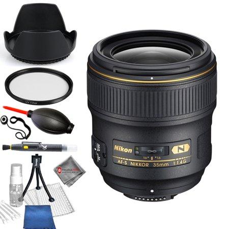 Nikon AF-S NIKKOR 35mm f/1.4G Lens 2198 Starter Bundle with Tulip Hood Lens, UV Filter, Cleaning Pen, Blower, Microfiber Cloth and Cleaning Kit - AUTHORIZED NIKON