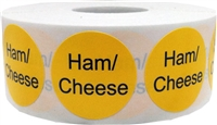 Yellow with black ham cheese circle dot adhesive stickers 1 inch round labels 500 total stickers