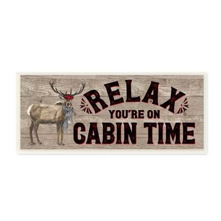 Cabin Wall Art - The Stupell Home Decor Collection Relax You're On Cabin Time Moose Typography Sign Wall Plaque Art, 7 x 0.5 x 17