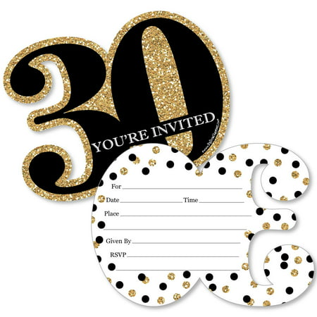 30th Birthday Invitations For Him (Adult 30th Birthday - Gold - Shaped Fill-In Invitations - Birthday Party Invitation Cards with Envelopes - Set of)