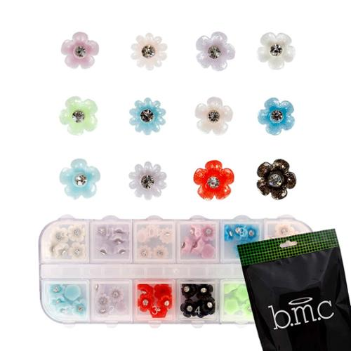BMC 60pc Mix Color Acrylic Flowers DIY 3D Nail Art Stud Decoration Set - Daisies
