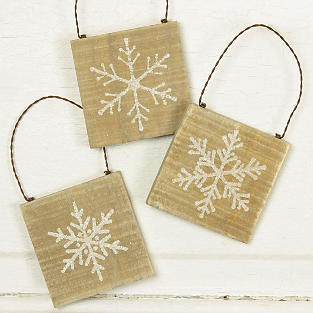 Country Christmas Snowflake Ornament Set of 3