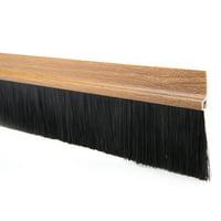 Self-Adhesive Door Bottom Wood Color w 2-inch Black Brush 40-inch x 2.9-inch