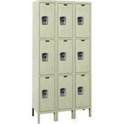 Hallowell URB3258-3A-PT Hallowell ReadyBuilt Locker, 36 in. W x 15 in. D x 78 in. H, 729 Parchment, Triple Tier, 3-Wide, Assembled