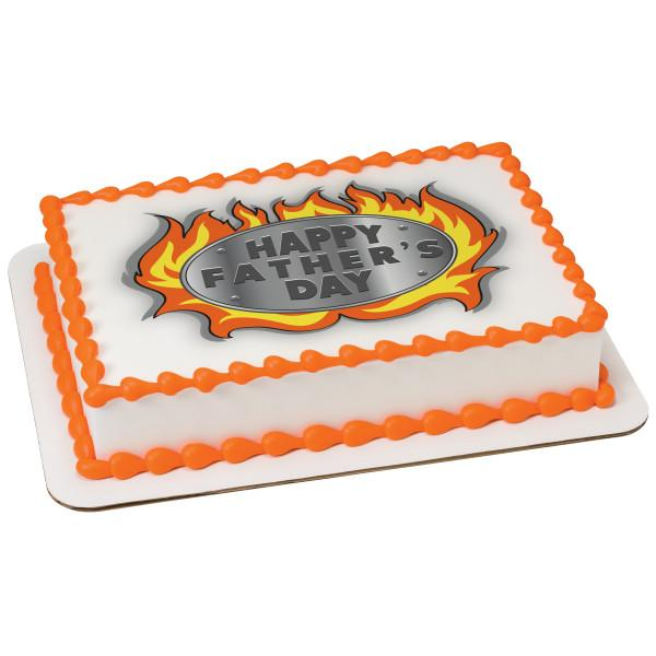 Father's Day Flames Edible Cake Topper Image